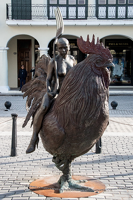 Sculpture of a Nude with a Fork Riding a Rooster, Havana, Cuba