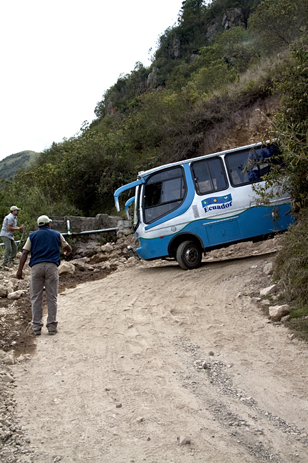 A small landslide delayed us on the road from Yanacocha to Tandayapa, Ecuador