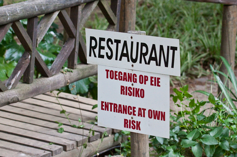 Signs at a Restaurant, Ceres, South Africa