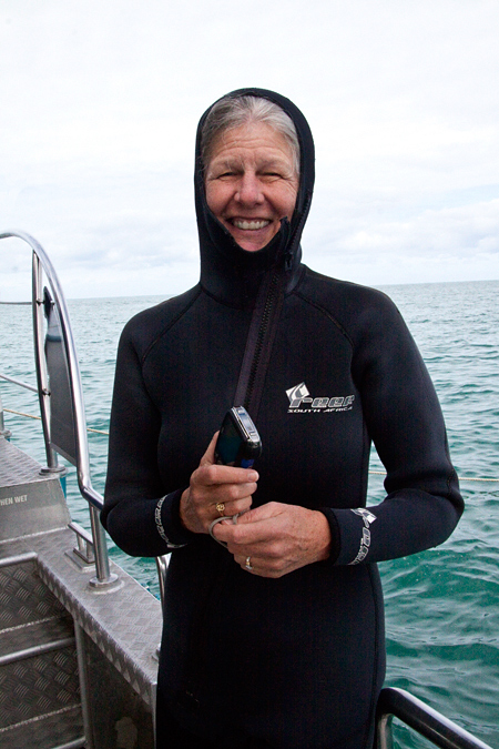 Joan, in Wetsuit, Ready to Go Into the Cage, Shark Cage Diving in Kleinbaai, South Africa